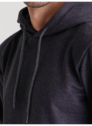 Dufy Kapüşonlu Kanguru Ceplı Erkek Sweatshirt - Slim Fit Siyah